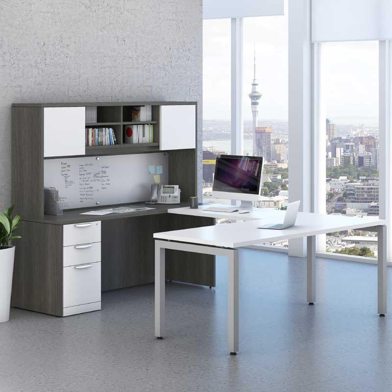 Pleasing Modern U Shaped Desk Storage Workstation Download Free Architecture Designs Intelgarnamadebymaigaardcom