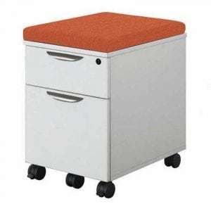 Mobile Filing Cabinet with orange cushion