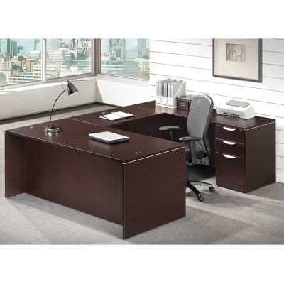 U Shaped Desk with Files