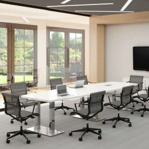 Palmer House Boat Shape Conference Table - Steel Base & Legs