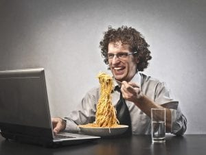 cubicle etiquette eating at desk noodles