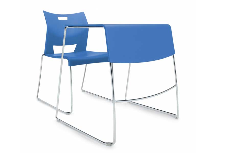 plastic desks and matching chairs - easy to sanitize