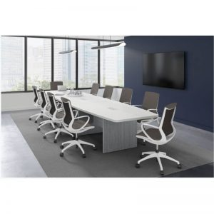 conference table boat shaped newport gray