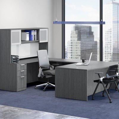 U Shaped Desk with Storage