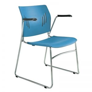 Colorful Poly Chrome Stacking Chair, Arms