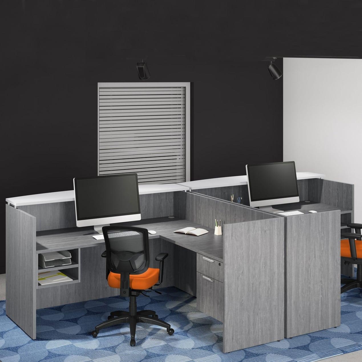 Double Reception Desk Station - Affordable & Stylish