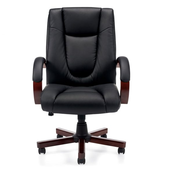 Executive Leather Chair With Wooden Arms and Base