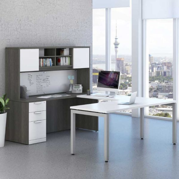 Modern U-Shaped Desk & Storage Workstation
