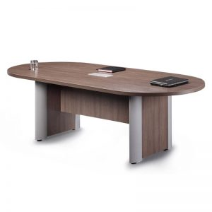 Racetrack Table, Silver Accent Base 8-12 feet