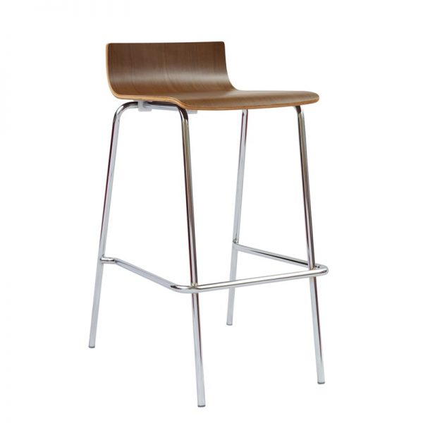 Low Back Stool - Bistro Height, Modern Design - Wooden