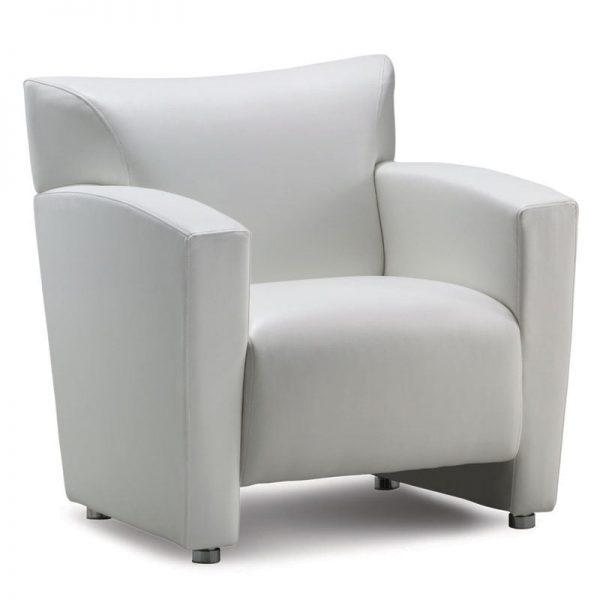 White Club Reception Chair - Luxurious Leathertek