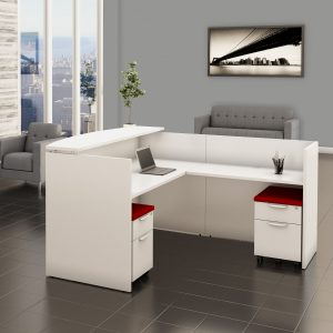 White Reception Desk with Filing System