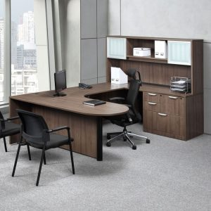 U-Shape Desk with Overhead Storage and Filing Cabinets