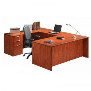 U shaped desk with filing cabinet