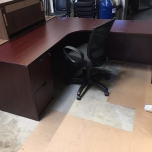 Used L-Shaped Mahogany Desk