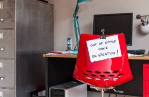 chair with note - out of office