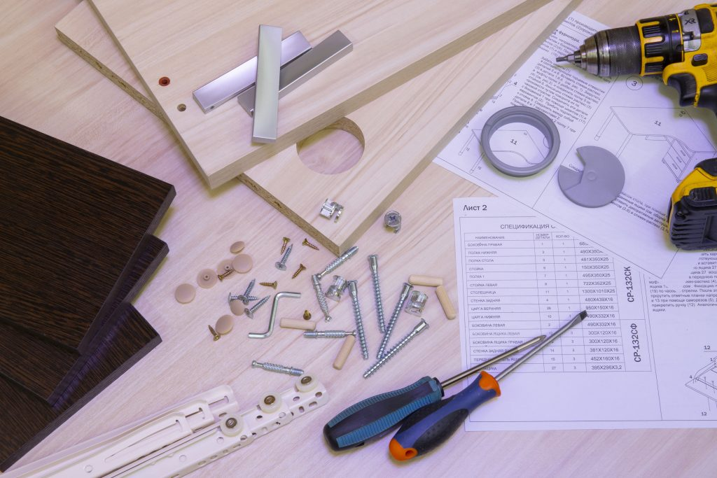 how to put together office furniture - instructions and tools