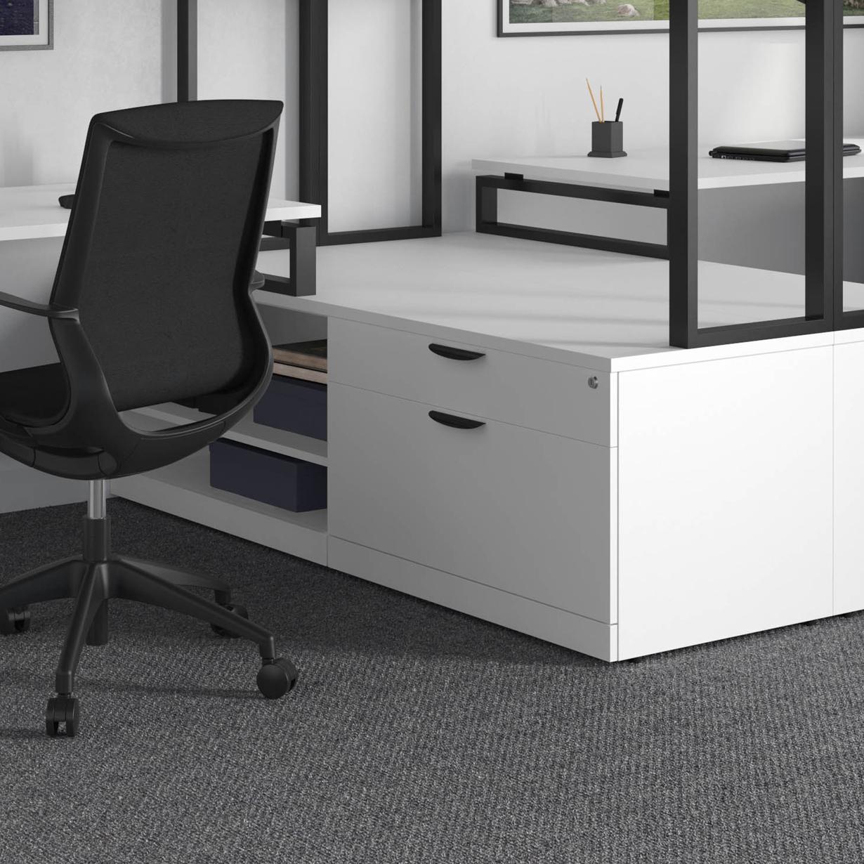 Black V Leg Dual Workstation Office Furniture Ez