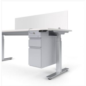 Stand Up Desk with Attached Filing Cabinet