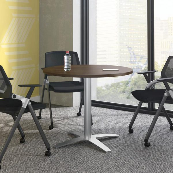Round Laminate Table With 4 Prong Base