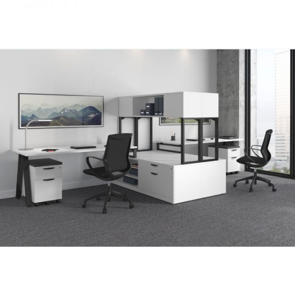 Black V-Leg Dual Workstation