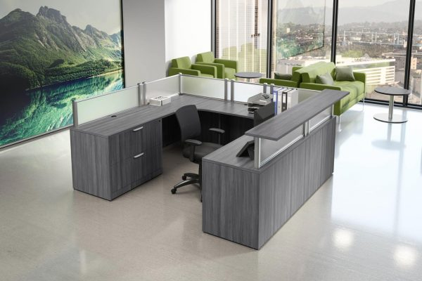 U Shaped Reception Desk with countertop and acrylic barriers