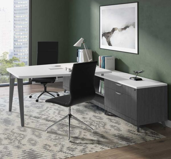 L-Shaped Desk With Wooden Legs