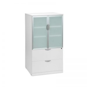 White Storage Cabinet with Glass Doors