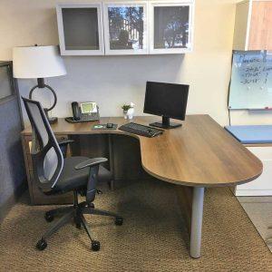 L-Shape Bullet Desk with Files - Park Walnut