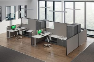 sit stand desks in cubicles