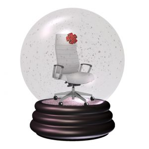 white office chair in snow globe